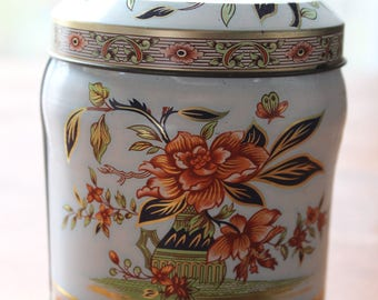 """Vintage Floral DAHER Decorated Ware Tin Container With Lid Made In England 4"""""""
