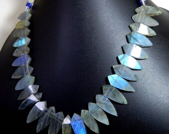 Labradorite Smooth Stick Necklace Marquise Shape Size 24x8 To 29x10.mm Approx 100% Natural Superb Quality Wholesale Price New Arrival