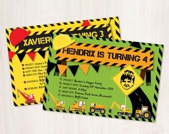 Construction Kids Digger Birthday Invitation