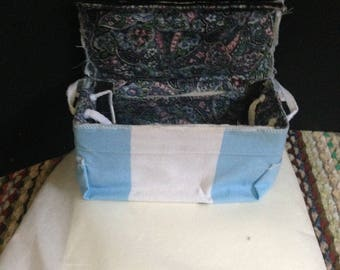 Blue and White Canvas Handbag