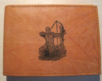 "Mankind Wallets Men's Leather RFID Blocking Billfold w/ ""Bow Hunter/ Archer"" Image~Makes a Great Gift!"