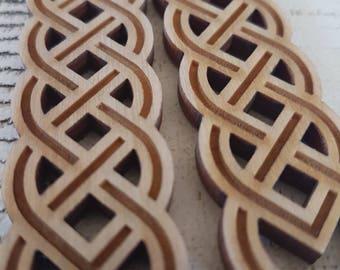 Wooden Engraved Celtic Knotwork Earrings