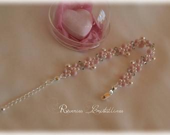 Silver Pink wedding, pearls, Swarovski crystals, silver bracelet - bridal bracelet, pink jewelry, wedding jewelry bracelet