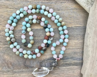 Amazonite and Rose Quartz Mala Beads with sterling silver Accents /108 Yoga Mala Necklace/ Prayer Beads / Buddhist Meditation Beads