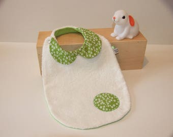 Peter Pan collar bib with Terry cloth and fabric printed small white flowers on green background
