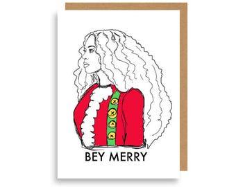 Bey Merry Beyoncé handdrawn Christmas Holiday card by Diamond Cake.