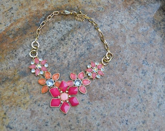 Coral and Salmon Rhinestone Flower Neacklace