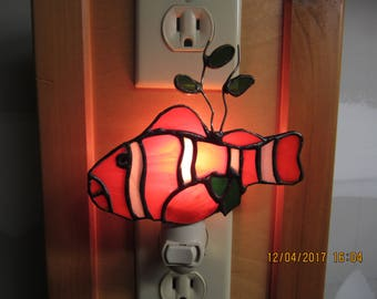 stained glass clown fish like nemo nightlight