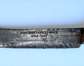 Old Butcher Knife Large Hammered Forged  1843-1934 Antique Shapleighs Large Curved KItchen Butcher Knife