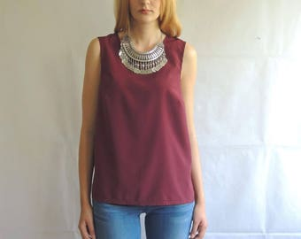 Vintage Burgundy Slouchy Sleeveless Top