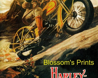 Antique Harley Davidson advertising poster