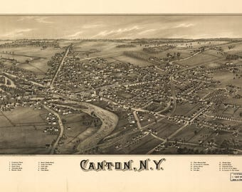 Canton NY Panoramic Map dated 1885. This print is a wonderful wall decoration for Den, Office, Man Cave or any wall.