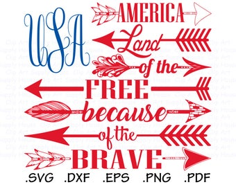 USA Flag SVG, Land of the Free Because of the Brave Clipart, usa png, Silhouette and Cricut Files, USA svg bundle, America svg designs CA450