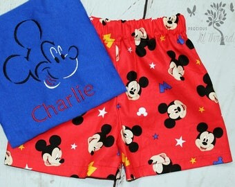 Boys Mickey Mouse Shirt- Toddler boys- Mickey Shirt- Mickey Mouse shorts- Baby Boys- Mickey outfit- 6m, 12m, 18m, 2t, 3t, 4t, 5t, 6