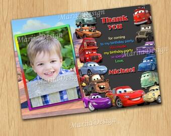 Cars Thank you Card, Cars Birthday Thank you Card, Cars Party Thank you Card,McQueen Thank you Card,Cars Thank you card with photo-ONLY FILE