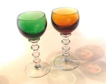 Vintage Cordial Glasses (Set of 2) Sherry Apertif Glasses