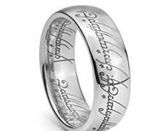 Wedding Band Ring Elvish Script Plain Lord Ring  Style Tungsten Carbide Men & Women Laser-etched - 7mm
