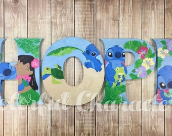 Hawaiian Themed Lilo and Stitch painted letters, wall letters, room decor, wall decor, made to order