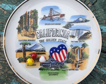 California souvenir plate decorative china plate painted pictures of California symbols made in Japan