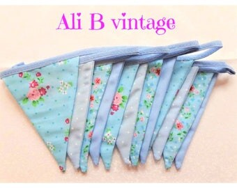 Blue bunting vintage style bunting double sided bunting  floral bunting blue flower bunting nursery bunting garden bunting ditsy floral