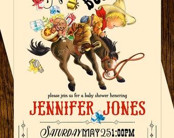 Cowboy Baby Shower Invitations Custom Printed Vintage Western Buckaroo Bronco Horse
