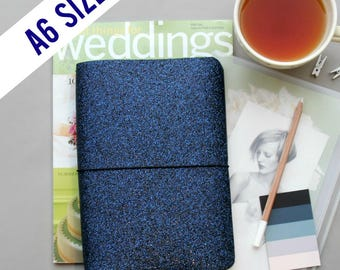 A6 Traveler's Notebook Cover in Modern Navy Glitter, A6 Planner Cover, A6 Journal Cover for A6 Inserts. Reversible Navy Lining, Quad Binding