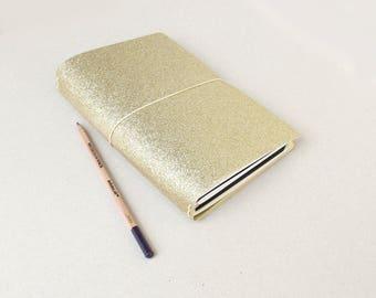 B6 Travelers Notebook For B6 Inserts / Modern Gold Glitter / B6 Travelers Notebook Cover / B6 Cover / B6 Fauxdori / B6 Planner / Fauxdori B6