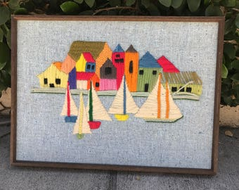 Vintage Nautical Yarn Art Vintage Nautical Needlepoint Sailboat Needlepoint Sailboat Knit Art Vintage Nautical Knit Art