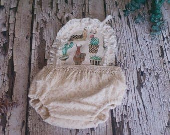 RTS, 6-12 months romper, 12 month, Sitter romper, Baby girl romper, Boho, Ivory, Cactus, Llama, Vintage, Photo prop, Organic