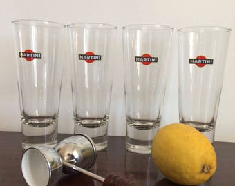 Set of 2 (4) tall original martini glasses cocktail glasses