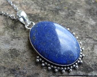 Beautiful Natural Blue Lapis Lazuli Sterling silver Necklace Pendant - Boho Chic Necklace - Stone necklace - Natural Stone Necklace