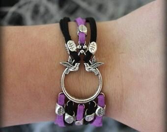braceletl flew doves trendy black and purple (free shipping)