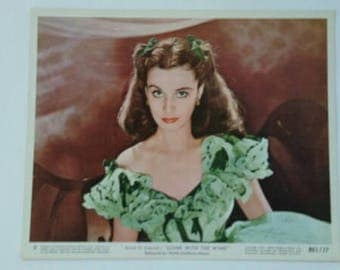 Vintage Authentic Gone With The Wind SCARLETT O'HARA Vivien Leigh in Green Barbeque Dress Collectible 1961 Color Lobby Still MGM Movie Gwtw