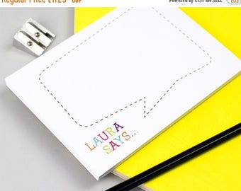 ON SALE Colourful Speech Bubble Personalised Notepad - Personalised Notepad - Personalised Stationery - Note Card