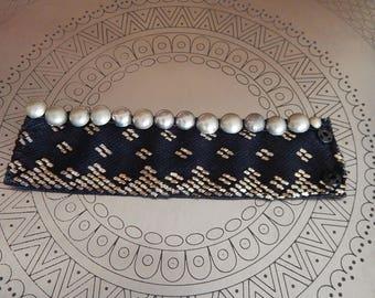 Assuit Cuff, Bracelet, NAVY,  Antique, Art Deco, Belly Dance, Tribal Fusion, Turkoman Buttons