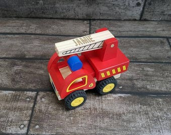 Fire Engine Child Toy Personalised Laser Engraved (00363)