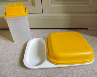 VINTAGE TUPPERWARE YELLOW Tupperware, Yellow Lidded Snack Tray, Tupperware Storage Canister,  Kitsch Kitchenalia, 1980s.