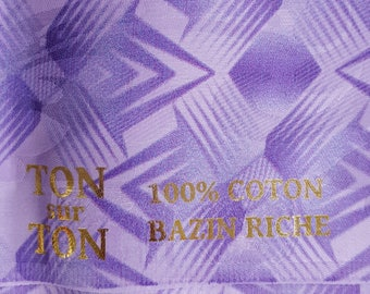 Light purple bazin riche cotton damask 5-metre (5.4yds) piece with over-print from Holland (aka African Brocade)