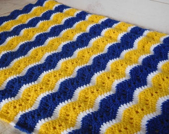 Crochet throw - blue and yellow blanket - blue sports blanket -crochet blanket - blue and yellow afghan -crochet afghan
