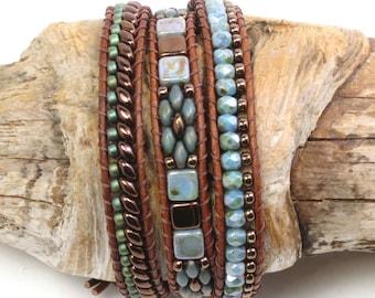 LEATHER WRAP BRACELET-Beaded Leather Wrap-Boho Leather Wrap-Superduo-Firepolish-Tiles-Blue Luster-Triple Wrap Bracelet-Wrap Bracelet-(TW34)
