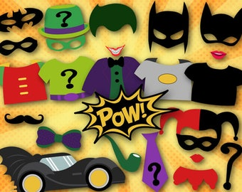 Printable Superhero Photo Booth Props, Batman Digital Photo Booth Props, Superhero Batman Party Printable, Joker, Robin, Ridler, 0399