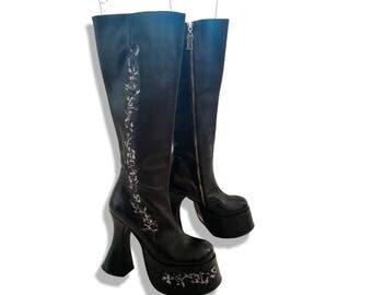 SOLD! 90s mega platform floral embroidered knee high boots!