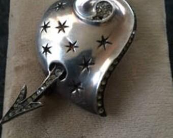 1940s Sterling Jeweled Arrowed Heart Brooch