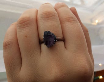 Amethyst & Galena Adjustable Ring
