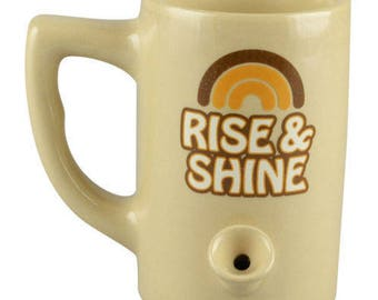 FREE SHIPPING in USA // Tan Ceramic Porcelain Rise and Shine Coffee Water Novelty Pipe Mug // Gift //