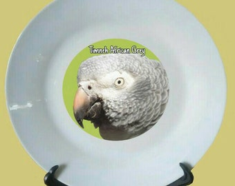 """Timneh African Grey Parrot White Decorative Ceramic 8"""" Plate and Display Stand"""