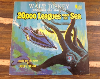Walt Disney Presents the Story of 20,000 Leagues Under The Sea Based on the Novel by Jules Verne Vintage Vinyl Record LP 1963