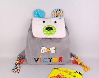Sac à dos bébé enfant crèche école maternelle personnalisé prénom Victor ours polaire sac ours blanc personnalisable sac à gouter rigolo
