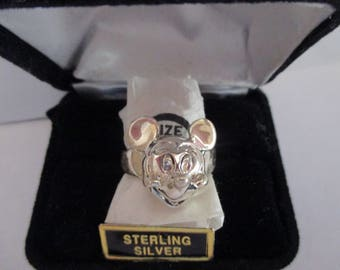 Rare Sterling Silver Mickey Mouse Ring Size 9