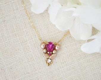 Crystal necklace, Swarovski pink and gold necklace, Petite fucshia and rose gold crystal necklace, Unique one of a kind necklace